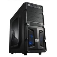 Cooler Master K(night) 350, Midl tower, black, with BLUE LED fan, with window, with USB 3.0 , black inside,  w/o PSU, mATX / ATX