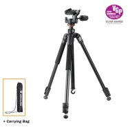 Vanguard ESPOD PLUS 203AP Tripod + Head (Aluminium) / 3-way pan head / Quick flip leg locks / Convertible spiked to rubber feet / Legs adjust to 25, 50 and 80-degree angles
