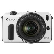 Canon EOS M White +EF-M 18-55mm f/3.5-5.6 IS STM + Speedlite 90EX.  18MP APS-C Hybrid CMOS sensor, Intelligent Auto, Full-HD video rec.