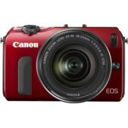Canon EOS M Red +EF-M 18-55mm f/3.5-5.6 IS STM + Speedlite 90EX.  18MP APS-C Hybrid CMOS sensor, Intelligent Auto, Full-HD video rec.